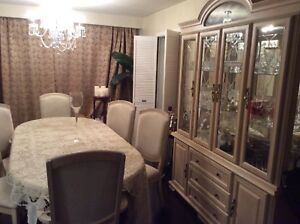 Glass Cabinet & Hutch, with matching dining room table