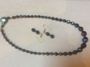 """Vintage Jewellery set 18"""" - beautiful blue"""
