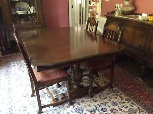 ANTIQUE DINING ROOM SET-GLASS CHINA CABINET-TABLE-CHAIRS