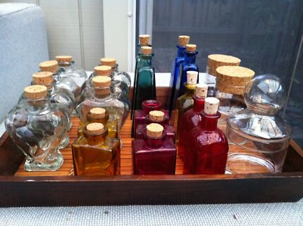 30 ASSORTED GLASS BOTTLES & CONTAINERS SUIT HANDCRAFTED GOODS Carnegie Glen Eira Area Preview