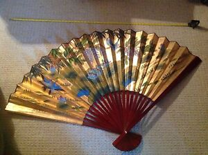 Vintage Large Oriental Hand Painted Gold Fan
