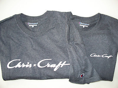 Two Charcoal (Two Charcoal Heather Chris Craft Screen Printed Champion Heavy T-Shirts Boat)
