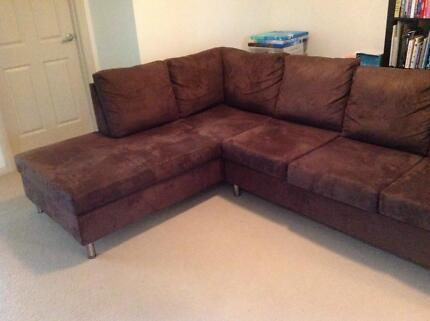 Brown 3 seater plus chaise corner sofa Crows Nest North Sydney Area Preview