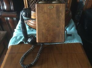 Vintage Wooden Wall  Hand Crank Telephone by Northern Elec.