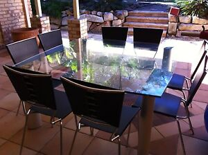 Dining Table in Plate Glass  and Leather Chairs For 8+ people Mount Ommaney Brisbane South West Preview