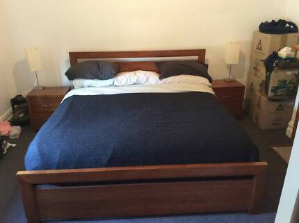 "King size bed and 2 tables. ""Vista"" by Bedshed  (cedar colour) Albert Park Port Phillip Preview"