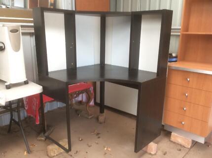 Black corner desk and large computer desk