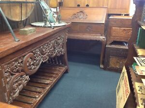 Vintage Carved Furniture Indonesian And Chinese Desk Hall Table