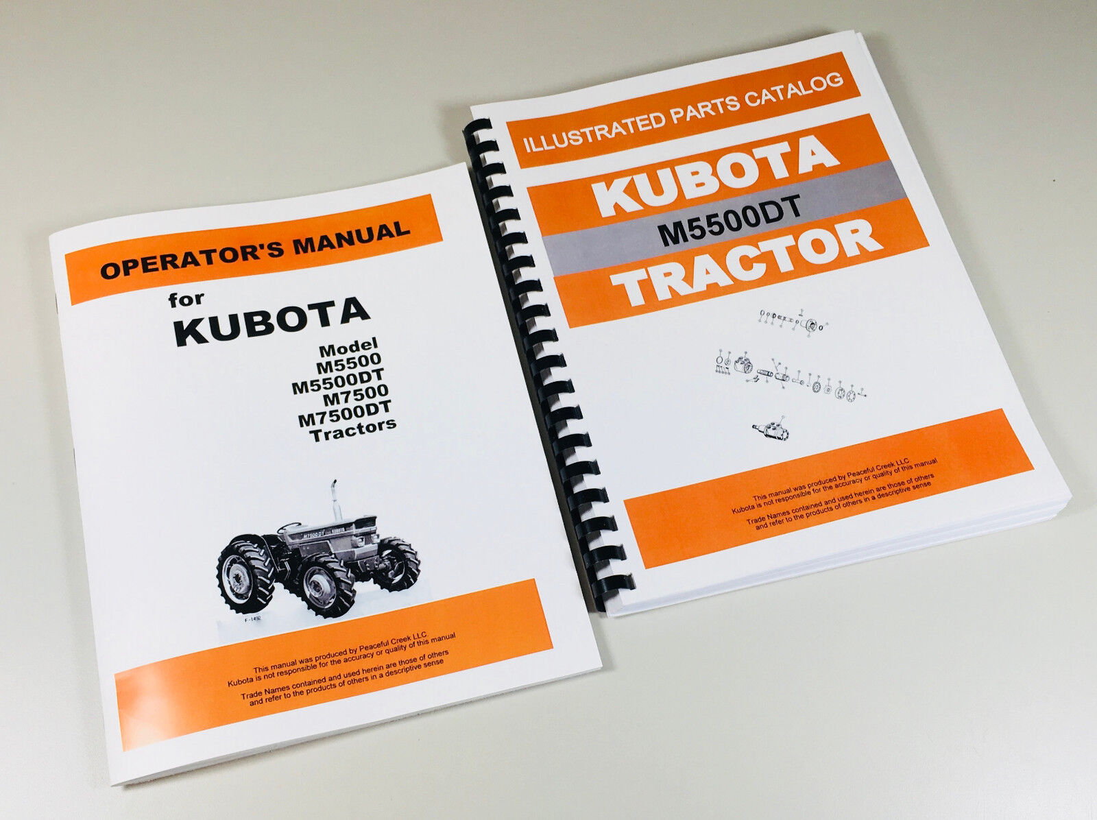 KUBOTA M5500DT TRACTOR OPERATORS & PARTS MANUALS. Full Covers all Years &  Serials. Complete Operators & Parts. 233 Pages