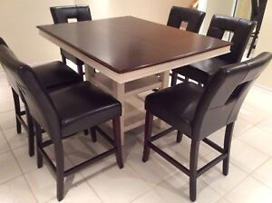 High counter dining table and 6 leather chairs