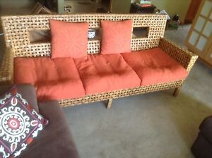 Great Pier One Natural Wicker Couch