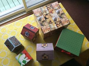 one Dozen Christmas boxes and gift baskets for $12
