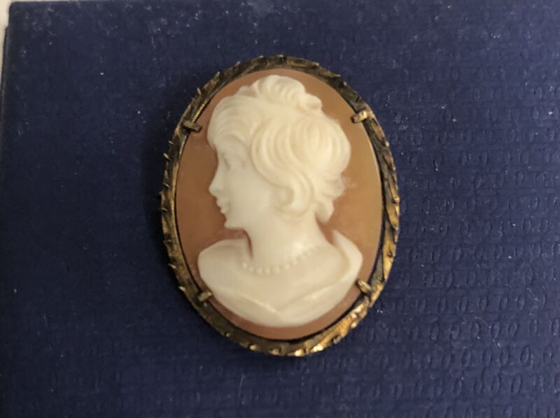 Antique Vintage Carved Shell Cameo Pin/Brooch with Bail for Pendant
