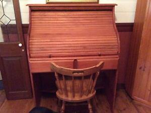 Solid Pine rolltop desk and chair. Sofala Mudgee Area Preview
