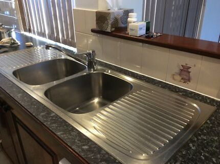 Oliveri Double bowl Stainless Steel Sink with mixer Tap Halls Head Mandurah Area Preview