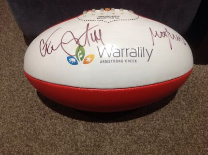 Corey Enright And Matthew Scarlett Signed Sherrin Football Mount Duneed Surf Coast Preview