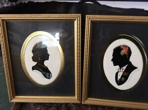 """Pair of silhouettes of Queen and Prince Philip 5""""x61/2"""""""""""