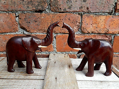 Vintage Mid Century African Hand Carved Wooden Elephants Mantelpiece Ornaments