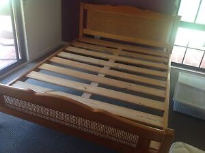 Queen Timber & Cane Bed with Wooden Slats Kurrajong Hawkesbury Area Preview