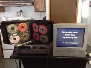 KARAOKE, TELEVISION AND 40 CD's of popular songs for sale!