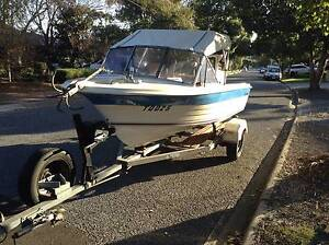 """14"""" Stegcraft Fibreglass Boat with Outboard Fairview Park Tea Tree Gully Area Preview"""