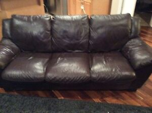 Italian 100% leather couch love seat and recliner