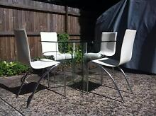 Freedom glass table and white chair set Mosman Mosman Area Preview