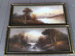 Pair Antique William Henry Chandler (1854-1928) Pastel Paintings