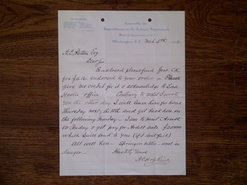 HOUSE OF REPRESENTATIVES COMMITTEE LETTER - ALBERT HOPKINS - LOCK HAVEN - 1892