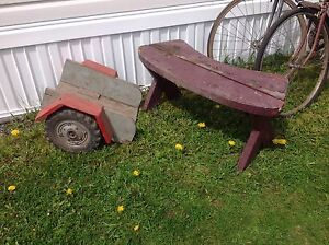 Bench sold but do still have wagon with wheel decoration