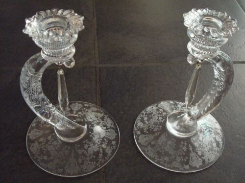 "Pair of Cambridge Glass Co Rosepoint Candle Holders ~ ""Martha"""