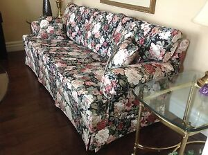 Black floral couch - mint condition