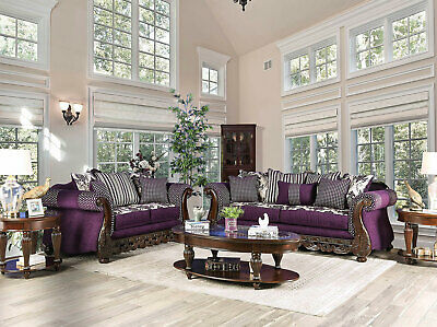 NEW Traditional Living Room 2 piece Wood Trim Purple Fabric Sofa Couch Set IGD8