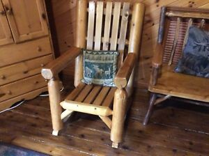 Log rustic rocking chair and bench