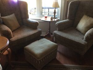 2 Wing chairs and ottoman