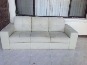 Loung set 3x2 creamy leather sofas free with red cover free Mount Pleasant Melville Area Preview