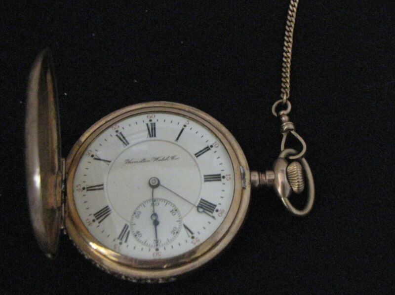060#CJ--Hamilton Watch Co. 17 Jewels Pocket Watch & Gold Fob