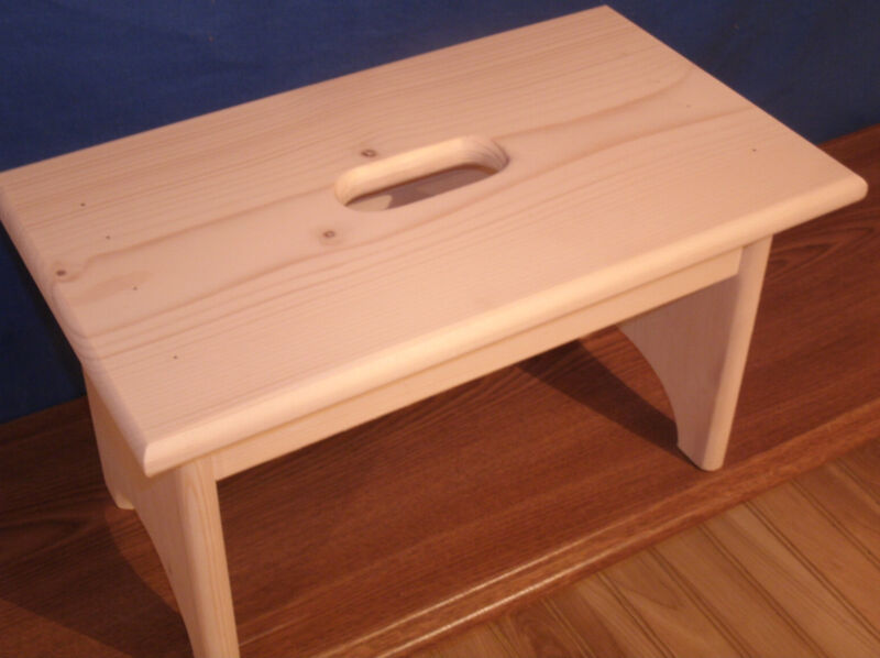 "wooden step stool  with hand hole 9""  unfinished pine"