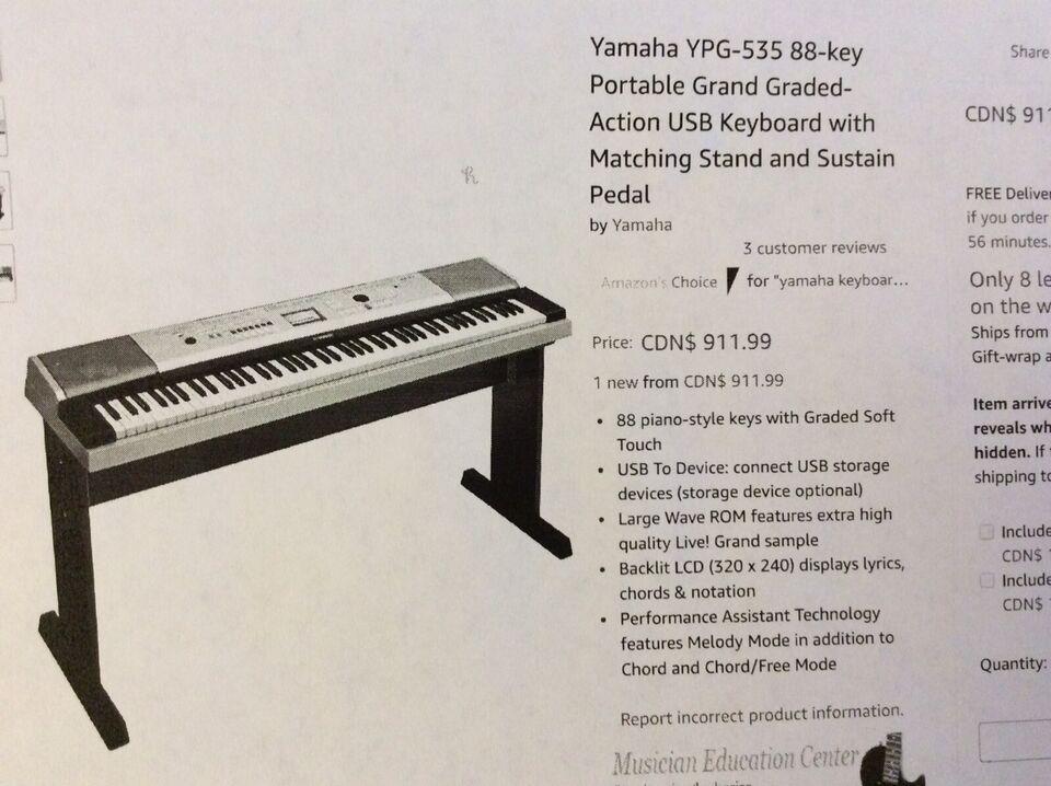 *NEW* Yamaha YPG-535 88 key Portable Grand Graded