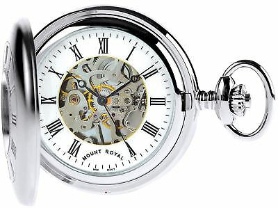 Skeleton Pocket Watch Chromed Half Hunter Plain Back - 17 Jewel Mechanical - Box ()