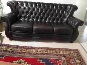 BEAUTIFUL LEATHER CHESTERFIELD SOFA - BIG PRICE REDUCTION Mudgeeraba Gold Coast South Preview