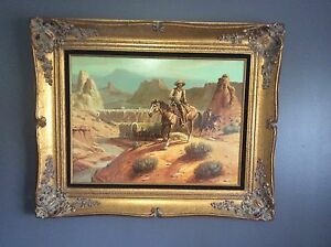 BEAUTIFUL PAINTING WESTERN SCENE OIL ON CANVAS WES CAMPBELL