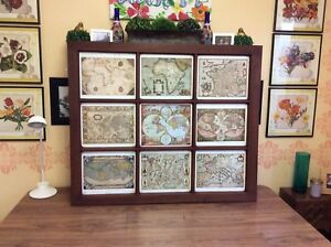 Vintage Window Pane With Prints of Antique Maps
