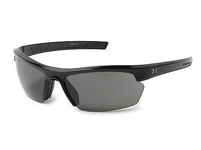 New $80 Under Armour UA Stride XL Sport Sunglasses Shiny Black Gray 8600041-5100