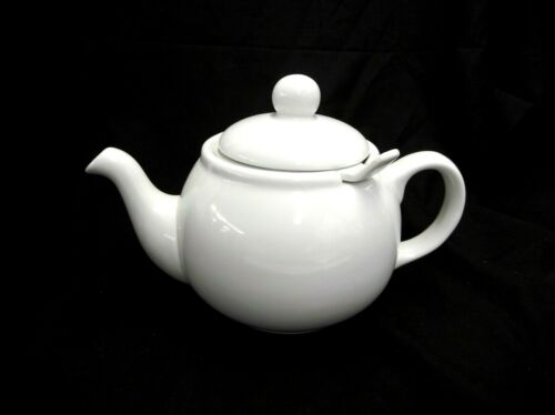 """💲 3 PIECE WHITE CERAMIC TEAPOT W/LID & INFUSER 7"""" TALL NO CHIPS OR CRACKS"""