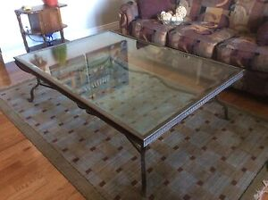 Wrought Iron Coffee Table with Bevelled Glass Top