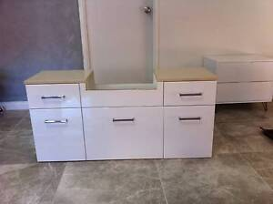 Bathroom Vanity Unit Cabinet White High Gloss Stone top Quality Hallam Casey Area Preview
