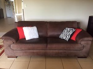 2 x BROWN SUEDE COUCHES Childers Bundaberg Surrounds Preview