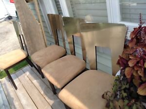 4 Stainless Steel Suede Chairs