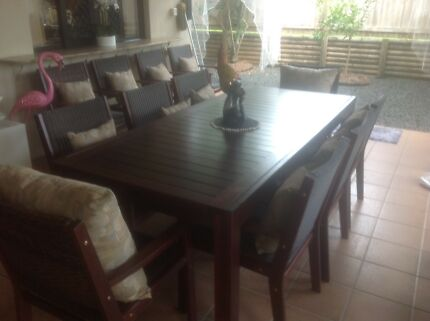 8 setting solid timber outdoor dining table and chairs
